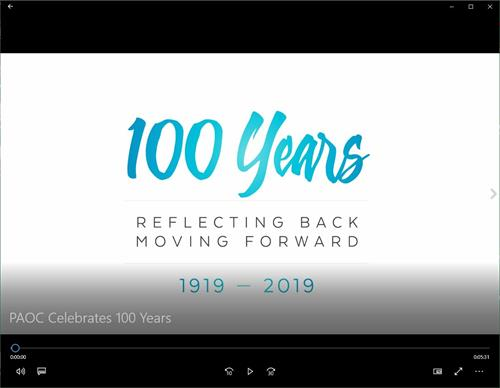 English Centenary Video Screen